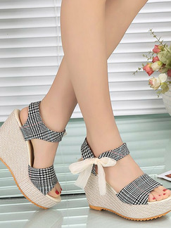 Beige and Black Polyester Open Toe Platform 10.5cm Wedges