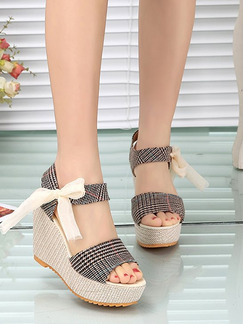 Beige and Brown Polyester Open Toe Platform 10.5cm Wedges