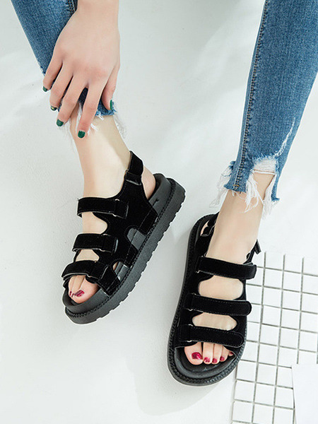 Black Suede Open Toe Platform Ankle Strap 3.5cm Sandals