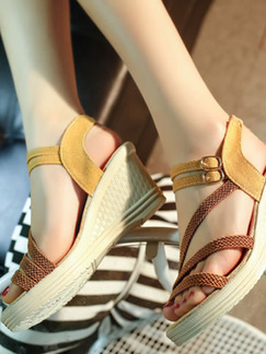 Beige and Brown Canvas Open Toe Platform Ankle Strap 7cm Wedges