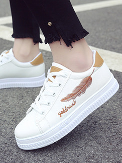 White and Brown Leather Round Toe Platform Lace Up 3cm Rubber Shoes