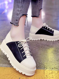 White and Black Leather Round Toe Platform Lace Up 5cm Wedges