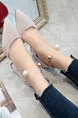 Pink Suede Pointed Toe Platform 8cm Chunky Heels for Casual Party