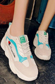 White Gray Colorful Polyester Round Toe Platform 3cm Lace Up Rubber Shoes for Casual Sporty
