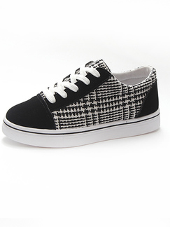 Black and White Canvas  Round Toe Platform 3cm Lace Up Rubber Shoes for Casual Sporty