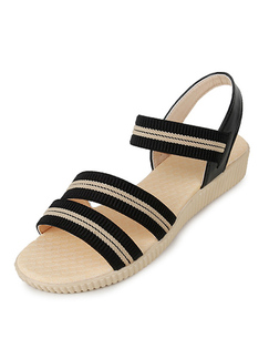 Black and Beige Canvas Open Toe Platform 3cm Sandals for Casual