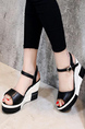 Black and White Leather Peep Toe Platform 9cm Wedges for Casual Party