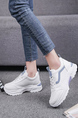 White and Gray Leather Round Toe Platform Lace Up Rubber Shoes