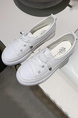 Creamy-White Leather Round Toe Platform Lace Up Rubber Shoes