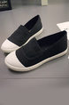 Black and White Canvas Round Toe Platform Slip On Rubber Shoes