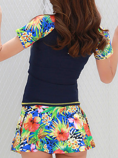 Blue Colorful Women Two-Piece Located Printing Contrast Linking Zipper Back Top Shorts Swimwear for Swimming Surfing