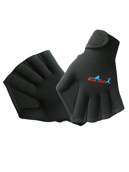 Black Men Duck Palm Linking Located Printing Webbed Gloves Swimwear for Swimming Diving