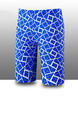 Blue and White Plus Size Contrast Printed Swim Shorts Swimwear for Swimming