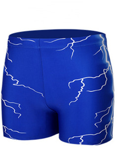 Blue Plus Size Contrast Lightning Swim Shorts Swimwear for Swimming