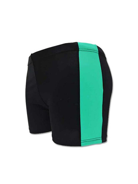 Black and Green Plus Size Contrast Stripe Side Swim Shorts Swimwear for Swimming
