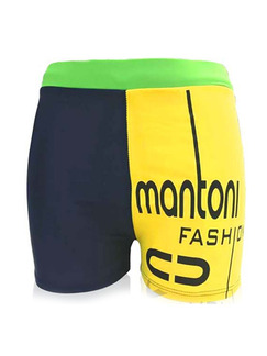 Blue Green and Yellow Plus Size Contrast Linking Letters Swim Shorts Swimwear for Swimming