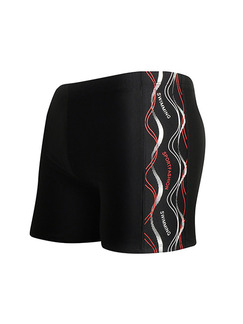 Black Plus Size Contrast Located Printing Side Swim Shorts Swimwear for Swimming