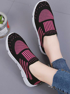 Pink and Black White Polyester Round Toe Platform 2cm Rubber Shoes