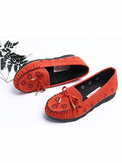Red Suede Round Toe Platform Lace Up 2cm Flats