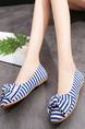 White and Blue Brown Canvas  Round Toe Platform 1cm Flats