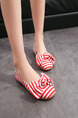 White and Red Brown Canvas Round Toe Platform 1cm Flats