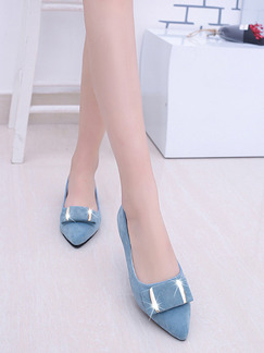 Blue Suede Pointed Toe Platform 1cm Flats