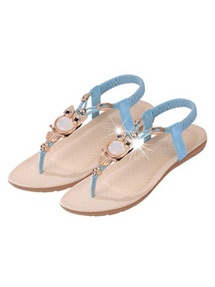 Blue and Brown Leather Open Toe Platform 1.5cm Flats Sandals