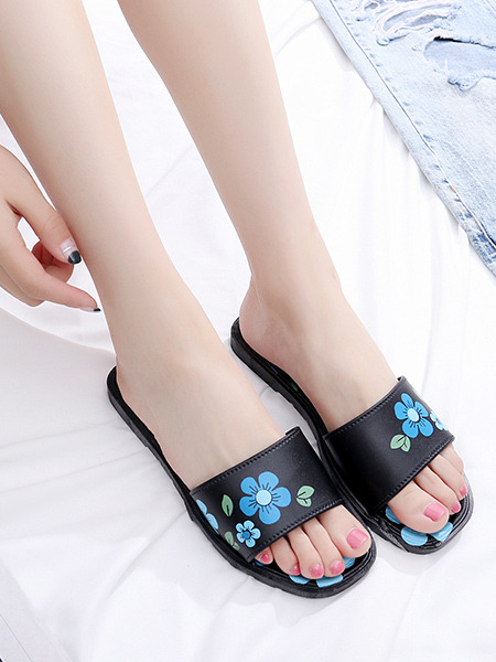 Black and Blue Green Plastic Open Toe Platform Cute 1cm Flats Sandals