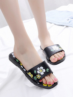 Black and Yellow PVC Open Toe Platform Cute 1cm Flats Sandals