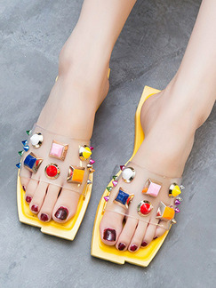 Yellow Colorful PVC Open Toe Platform 1cm Flats