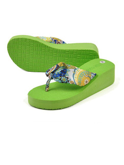 Green Colorful EVA Open Toe Platform 5cm Wedges