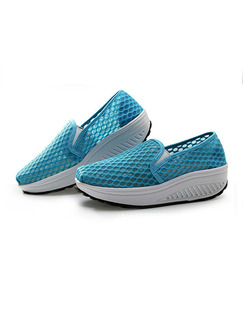 Blue and White Polyester Round Toe Platform 5cm Rubber Shoes