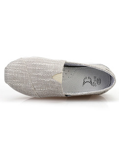 Grey and White Canvas Round Toe Platform Slip On 5cm Rubber Shoes