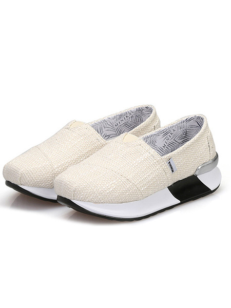 Beige and White Canvas Round Toe Platform Slip On 5cm Rubber Shoes