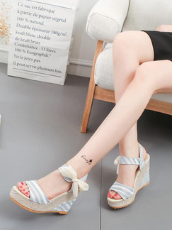 Beige Grey and White Canvas Open Toe Platform 10cm Wedges