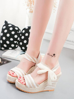 Beige and White Canvas Open Toe Platform 10cm Wedges