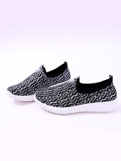 Black and White Polyester Round Toe Platform 3cm Rubber Shoes
