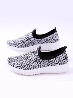 White and Grey Polyester Round Toe Platform 3cm Rubber Shoes