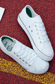 White Canvas Round Toe Platform Lace Up 2.5cm Rubber Shoes
