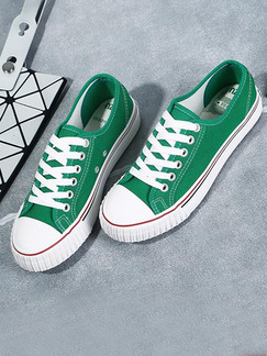 White and Green Canvas Round Toe Platform Lace Up 2.5cm Rubber Shoes