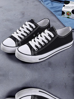 Black and White Canvas Round Toe Platform Lace Up 2.5cm Rubber Shoes