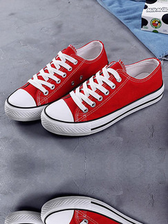 Red and White Canvas Round Toe Platform Lace Up 2.5cm Rubber Shoes
