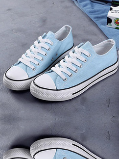 Blue Canvas Round Toe Platform Lace Up 2.5cm Rubber Shoes