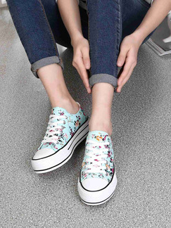 e63945334 Blue and White Colorful Canvas Round Toe Platform Lace Up 4cm Rubber Shoes