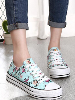 Blue and White Colorful Canvas Round Toe Platform Lace Up 4cm Rubber Shoes