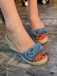Blue and Beige Cotton Open Toe Platform 6cm Wedges
