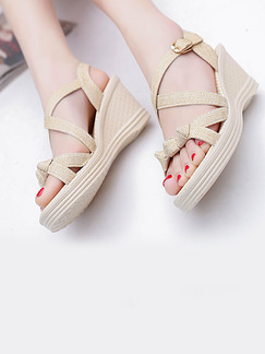Beige Leather Open Toe Platform Ankle Strap 7cm Wedges