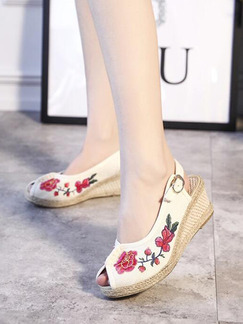 Beige and Red Linen Peep Toe Platform 5cm Wedges