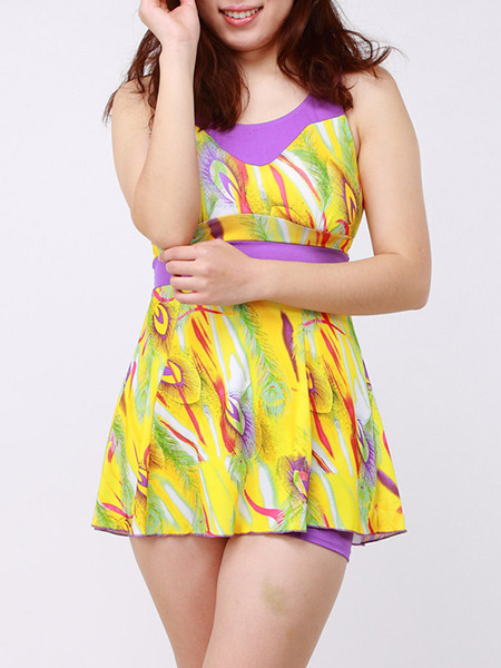 Yellow Colorful Two-Piece Plus Size Loose Contrast Linking Printed Flat Bottom  Polyester and Elasticity Swimwear