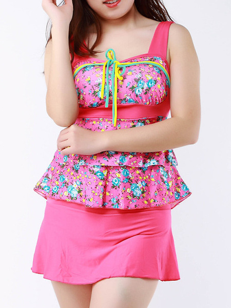 Pink Colorful Two-Piece Loose Printed Ruffle Band Flat Bottom Open Back  Polyester and Elasticity Swimwear